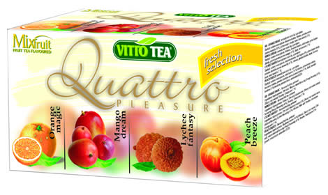 Quattro Fresh selection, fruit portioned tea in a hygienic cover 40g (mango, lychee, orange, peach)