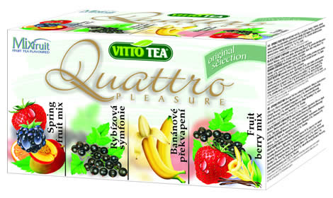 Quattro Original selection, fruit portioned tea in a hygienic cover 40g (blackcurrant, banana, 2 x fruit mix)