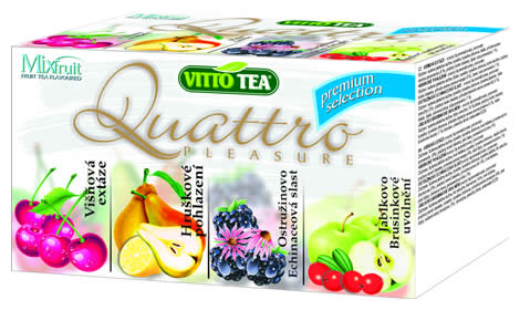 Quattro Premium selection, fruit portioned tea in a hygienic cover 40g (cherry, pear, blackberry+echinacea, apple+cranberry)
